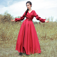 [AIGYPTOS BOSHOW]OriginalDesign New Autumn Women Vintage Royal Wind Sexy V Neck Hollow Out Lantern Sleeve Elegant Red Maxi Dress