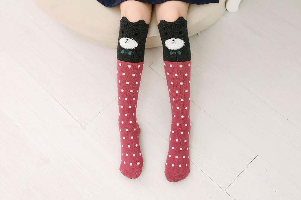 2017 Nowa Wiosna Jesień Dzieci Skarpetki Bawełniane Drukowanie 3D Kot Moda Cartoon Niedźwiedź Taniec Skarpetki Maluchy Dziewczynek Knee Socks 13
