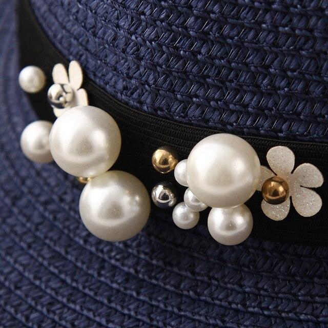 Gran oferta 2019 de sombreros de paja de ala ancha de rafia con parte superior redonda, sombreros de Sol de verano para mujeres con sombreros de playa de ocio, Gorras planas de señora 4