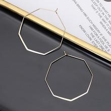 Total simple hoop earrings for women European and American geometric hexagonal H23