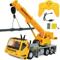 Free Shipping 1:24 RC Crane 2.4G 8CH RC Construction Vehicles Light Sound RC Car Toys Kids Children Gifts