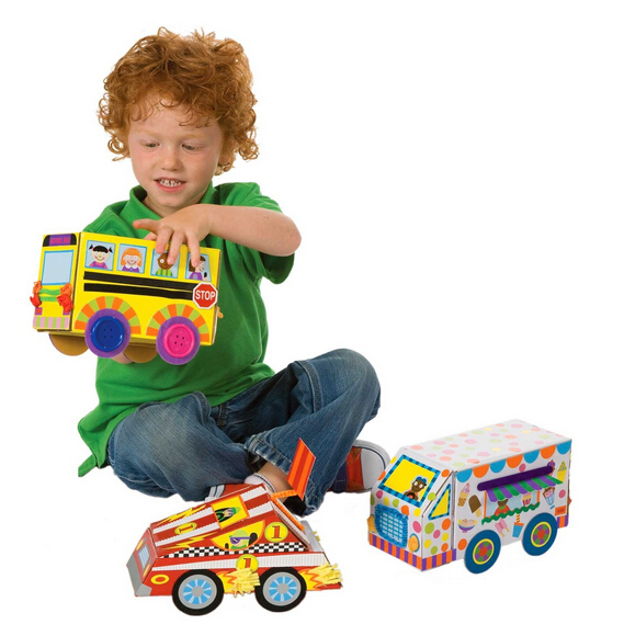 My crafty cars crafts kit diy sticker vehicles children for Alex toys craft color a house children s kit