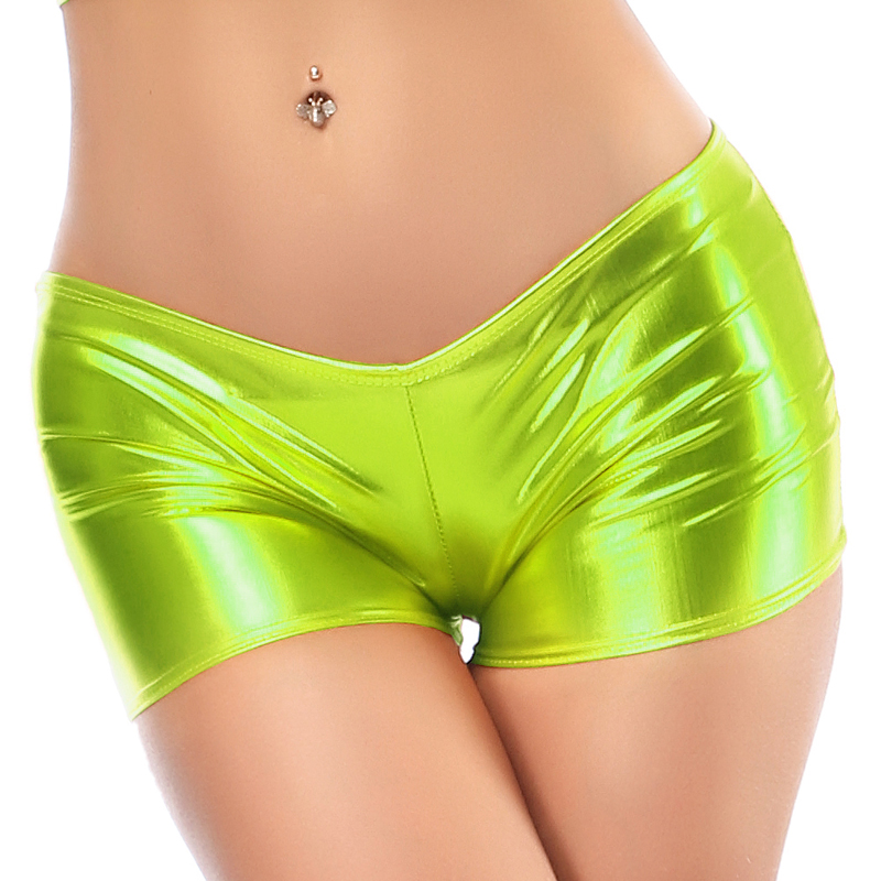 Image 5 - Candy Color Faux Patent Leather Shorts Glitter Sexy Pole Dance Booty Shorts Wetlook Mini Short Women Hot Clubwear Pantalon Corto-in Shorts from Women's Clothing