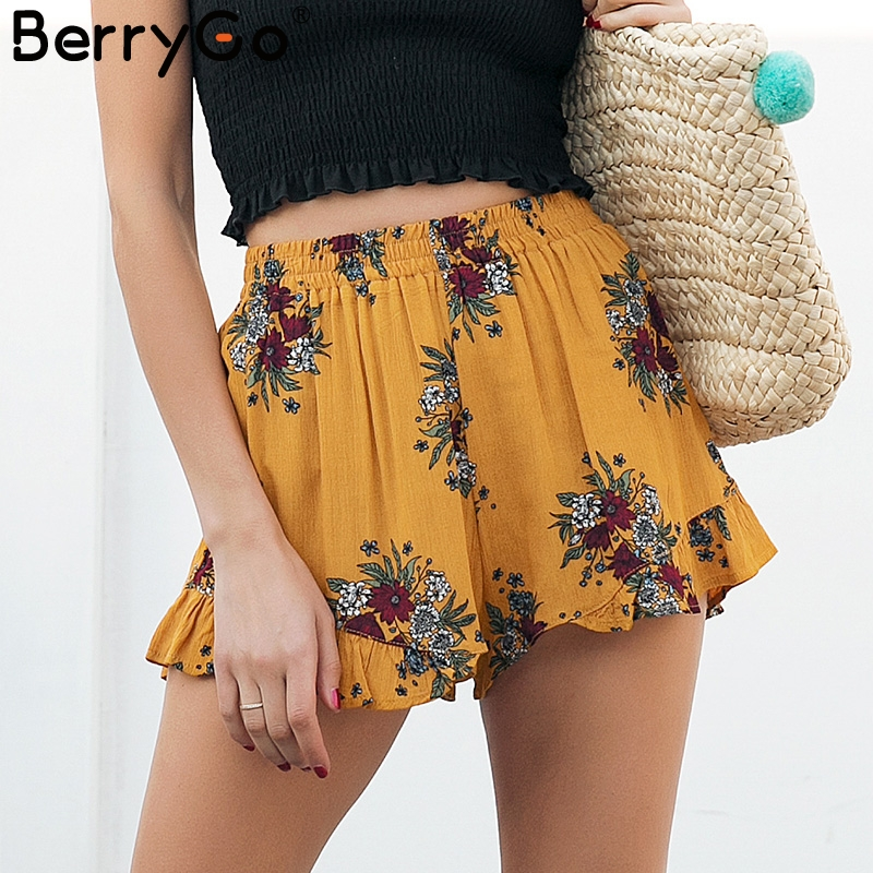 BerryGo Boho flower print shorts women Elastiac waist ruffle summer shorts 2018 Pleated loose casual shorts femme