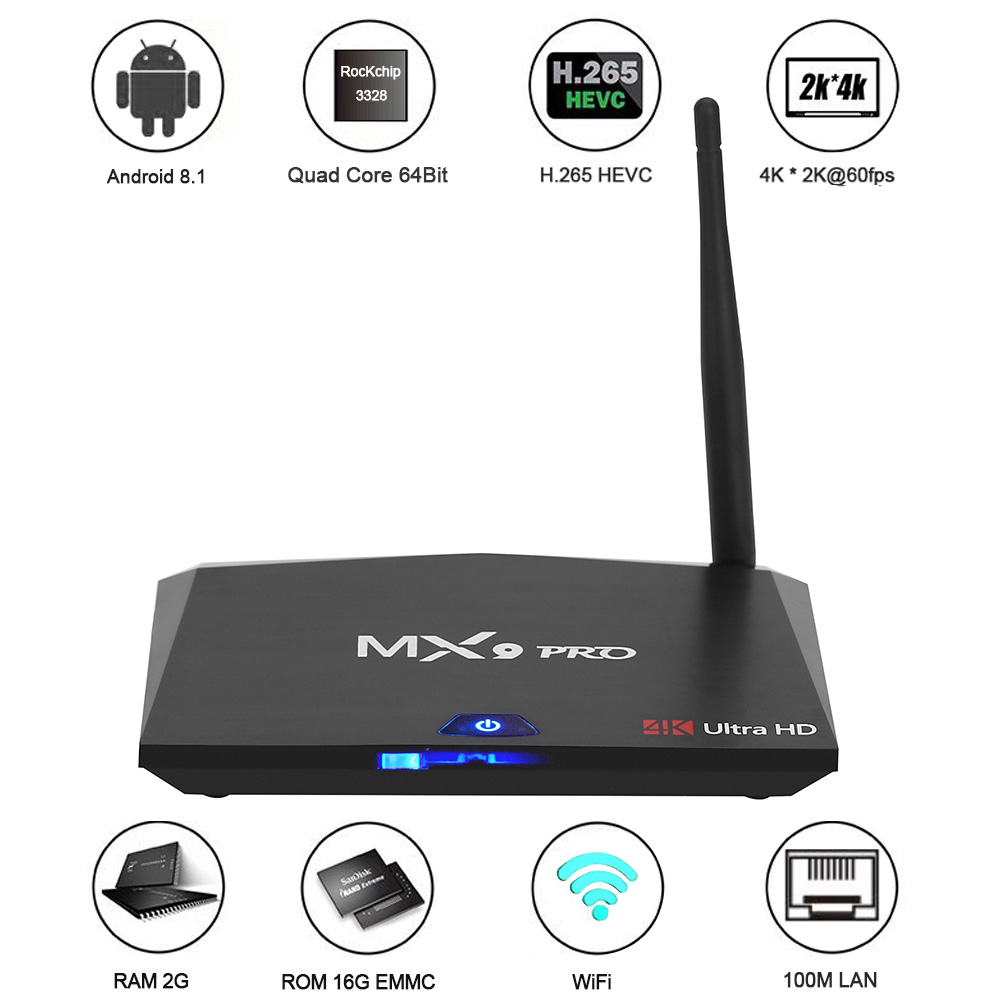 MX9 Pro Smart TV Box Android TV Box RK3328 Quad Core 64Bit 4G32G 4K VP9 HDR 3D Mini PC 2.4G 5G WiFi Bluetooth 4.1 Android 8.1 mxq pro rk3229 android 5 1 4k vp9 smart tv box