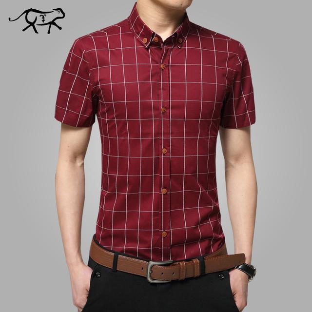 2017 Nuevo Algodón A Cuadros de manga corta camisas de los hombres más el tamaño M-5XL camisas de hombre de Moda casual camisas de los hombres slim fit a rayas camisa de los hombres