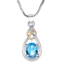 Valentine's day gifts Retro zircon Silver Plated Teardrop blue Crystal Pendant Necklace Necklaces Women Jewelry Girl