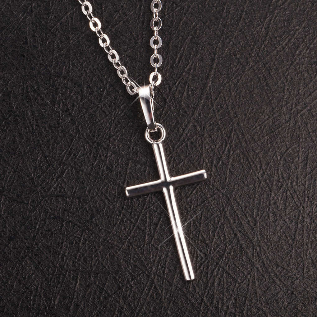 Mens Womens Stainless Steel Cross Pendant Necklace Golden / Silver Chain
