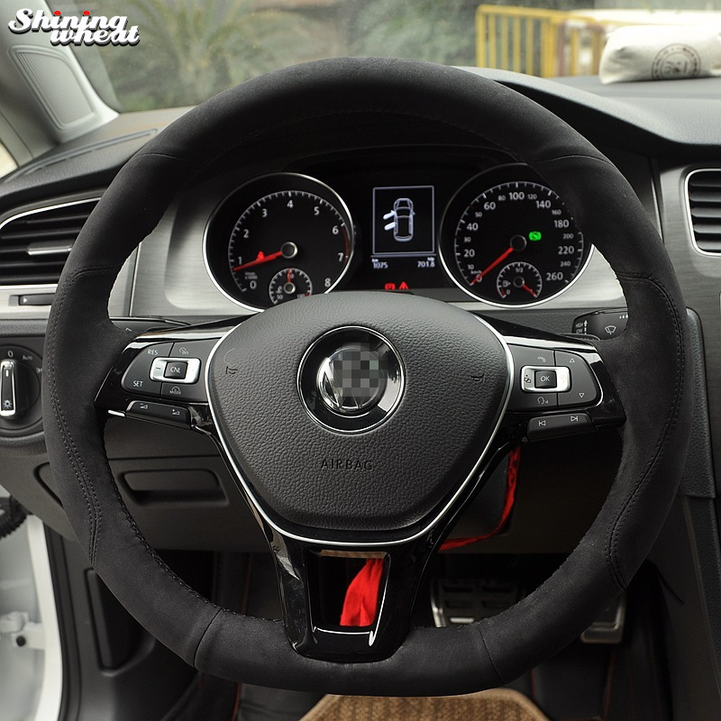 Shining wheat Hand-stitched Black Suede Steering Wheel Cover for Volkswagen VW Golf 7 Mk7 New Polo Jetta Passat B8 special hand stitched black leather steering wheel cover for vw golf 7 polo 2014 2015