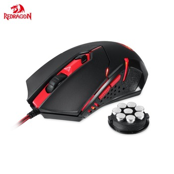 Redragon M601 Gaming Mouse with Side Buttons LED Backlit Adjustable Ergonomic Gamer Mice 3200DPI 8 built-in weights