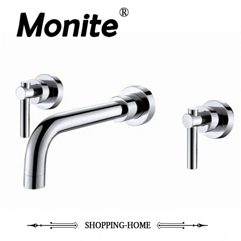 3 Piece Set Chrome Brass Wall mounted Mixer Tap Bathtub Faucet Two Handles Mixer Tap Faucet 1 piece free shipping anodizing aluminium amplifiers black wall mounted distribution case 80x234x250mm