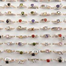 Multicolor Womens Zircon Rings 50pcs/lot High Quality Gold Color Ring Gift For Valentines Day