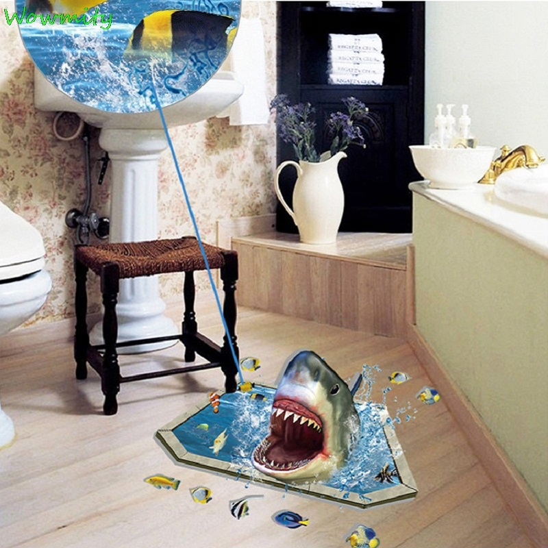 3D Shark Wall Sticker Hole View Bathroom Toilet Living Room Home Decor Decal Poster Background Combination Wall Stickers
