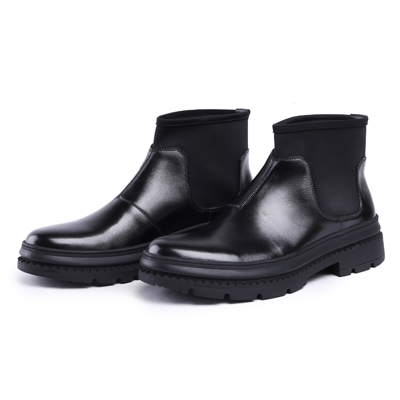 Bout Véritable À Mode Noir Homme Cheville La forme Bottes En boy Js72 Cheval Chlesea Haute Main Chaussures top Plate Designer Cuir De Cow Hommes Rond 354ALqjR