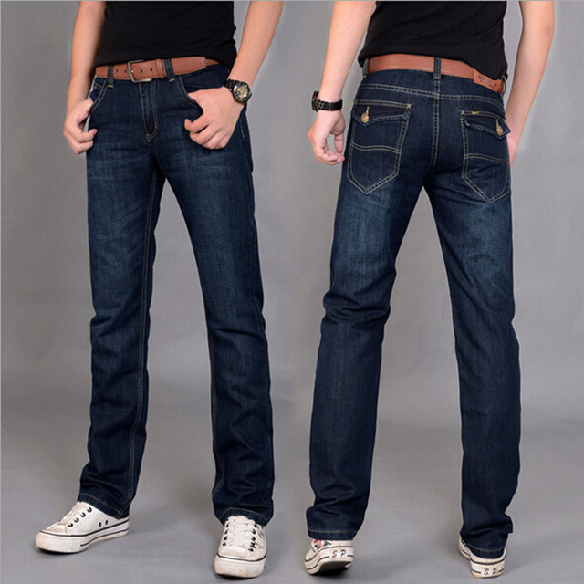 6785568d2ab78 Men Denim Straight Jeans Slim Fit Male Autumn Fashion Classical Casual Mid  Waist Dark Blue Ripped