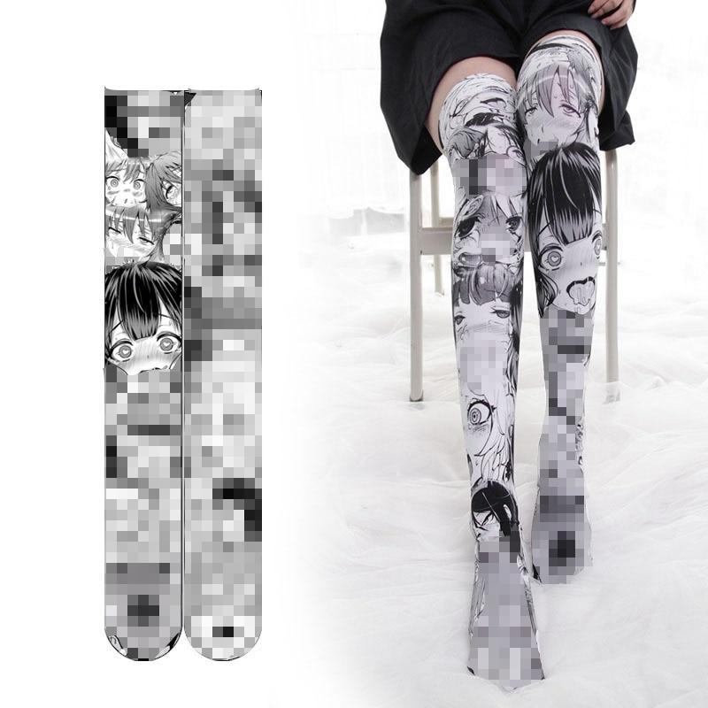Japanese Girls Manga Cartoon Printed Stockings Thigh High Tights Ahegao Lolita Velvet Overknee Socks Cosplay Overknee Stocking