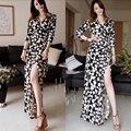 2016 Mejor Calidad Diseñador Del Estilo de Corea Mujeres de La Vendimia Floral Loose Gasa Larga Vestidos Atractivos de Las Señoras Vestidos Maxis Femme Robe