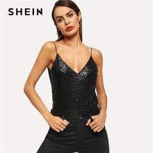 SHEIN Party สีดำ V คอเลื่อม Cami สปาเก็ตตี้ Backless Plain Top เซ็กซี่ผู้หญิงฤดูร้อนสบายๆ Elegant Modern Lady Tank