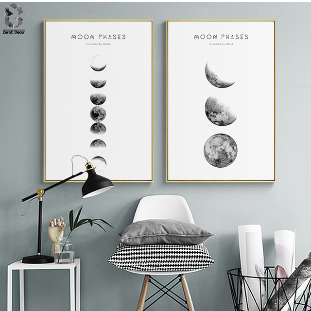 Moon Phases Wall Art Nordic Print And Poster Canvas Paintings For Living Room Decoration
