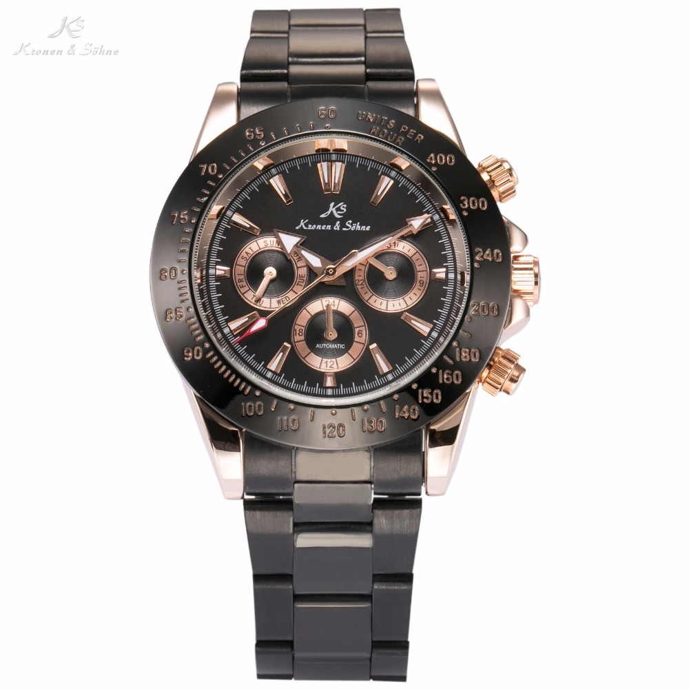где купить Imperial KS Brand Black Steel Band Water Resistant 6 Hands Date Day Calendar Round Case Mechanical Men Gift Luxury Watch / KS273 по лучшей цене