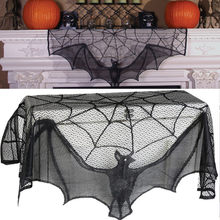 ISHOWTIENDA 2019 Zwart Spinnenweb Haard Mantel Sjaal Cover Tafelkleed Halloween Party Decor Hot koop(China)