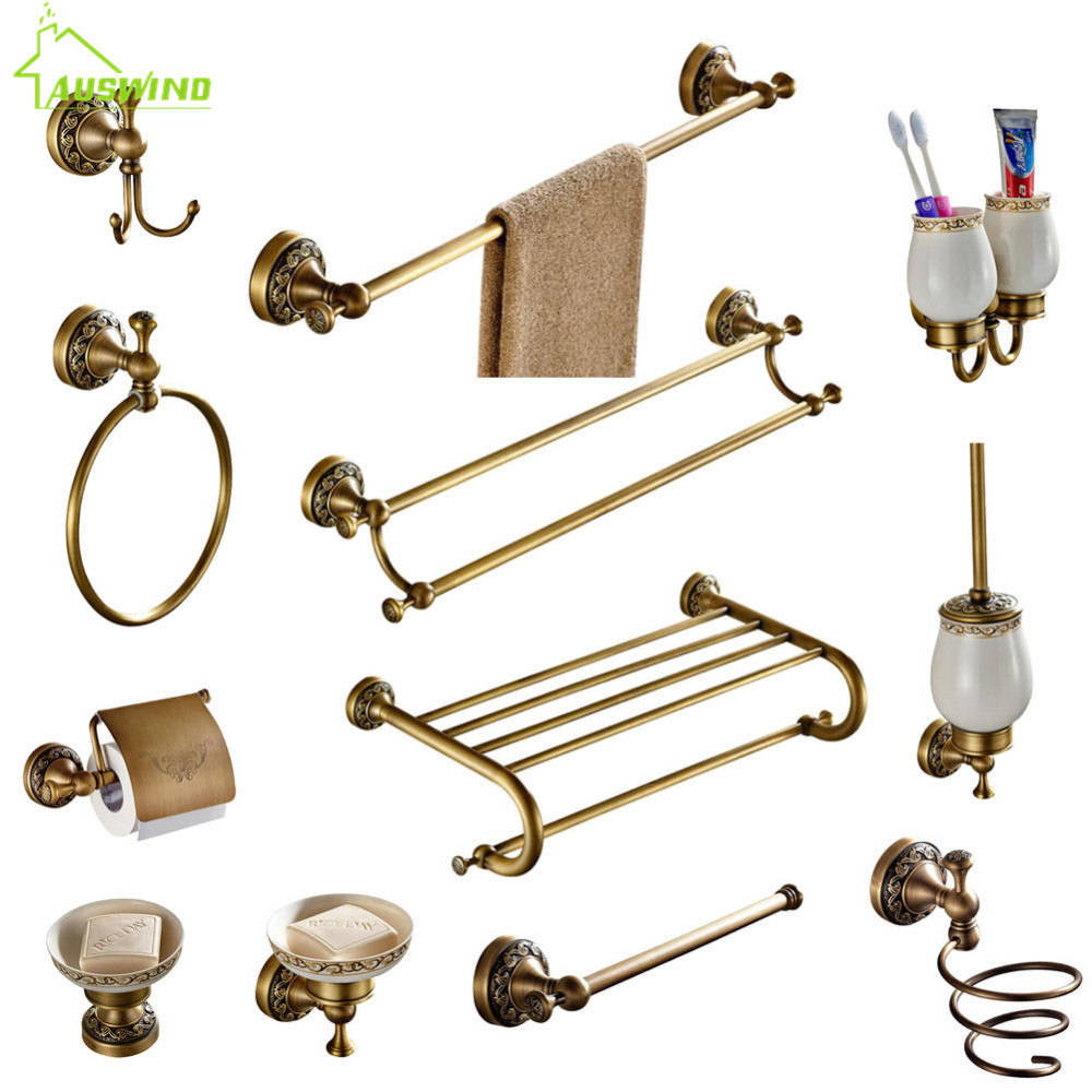 Antique Brass Collection Carved Bathroom Products Bathroom Accessories Set Wall Mounted Brass Bathroom Hardware SetAntique Brass Collection Carved Bathroom Products Bathroom Accessories Set Wall Mounted Brass Bathroom Hardware Set