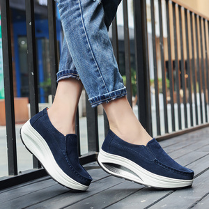 Image 5 - JZZDDOWN Cow Suede Creeper women sneakers platform Plus Size moccasins Shoes Woman Platform Genuine Leather Ladies Female Shoes