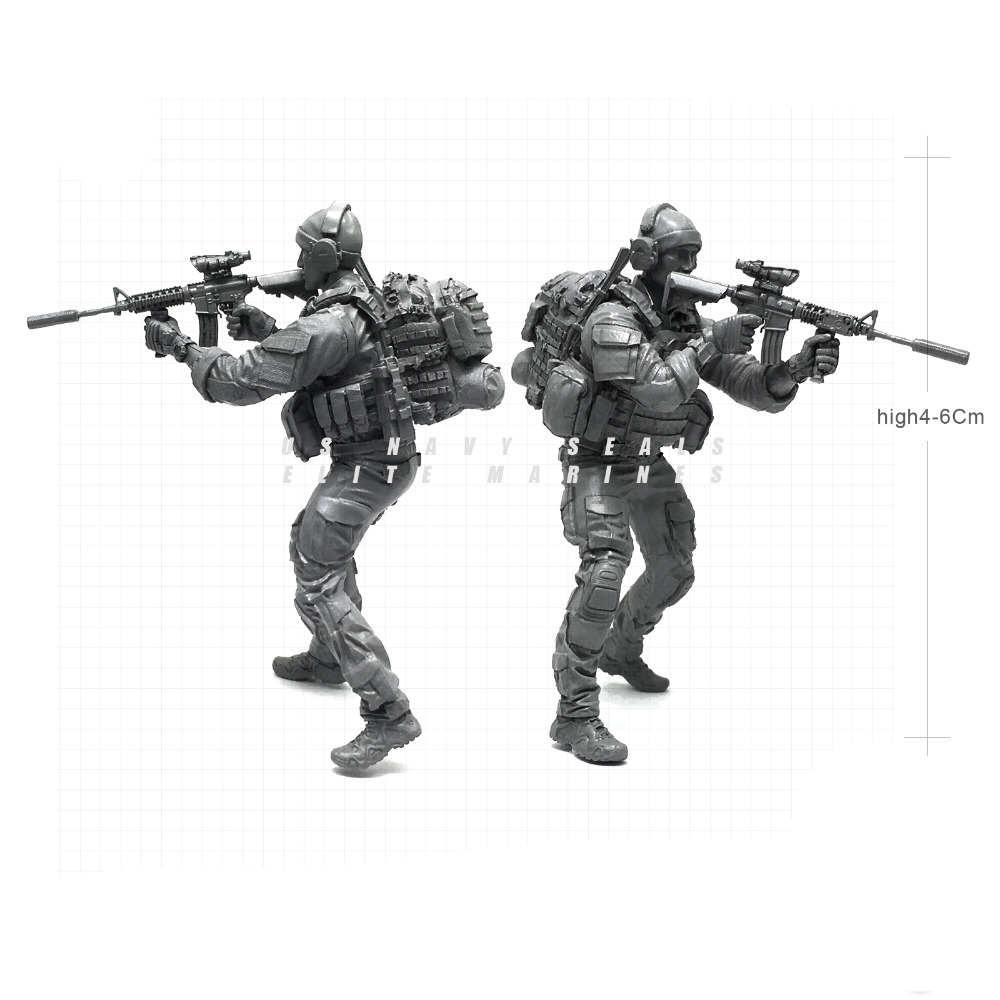 Tobyfancy 1/35 Modern U.S Navy Seals Elite Marines Fire Gun Military Soldier Resin Model Figure NAI-23