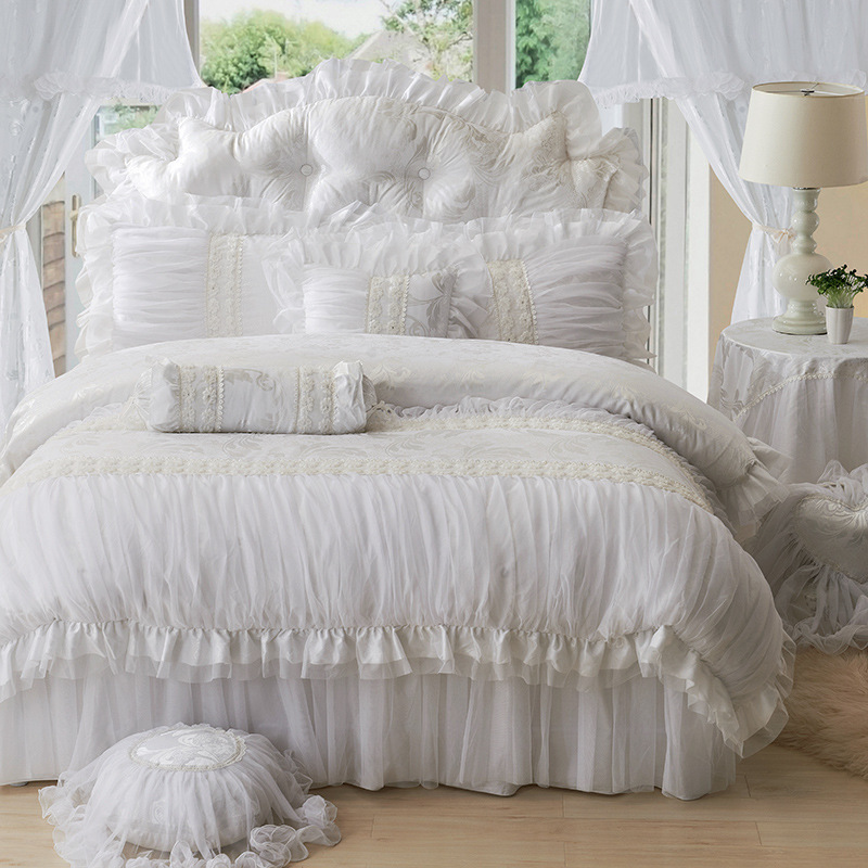 luxury lace ruffle bedding set twin queen king cotton girl french princess wedding home. Black Bedroom Furniture Sets. Home Design Ideas