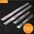 for LED Stainless Steel Door Sill Scuff Plate For KIA FORTE 2010 2011 2012 car accessories car-styling for