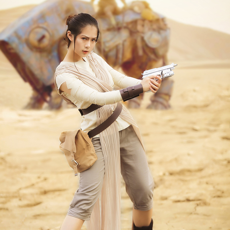 Star Wars Rey Cosplay Costume Outfit The Force Awakens Cosplay Clothing Halloween Adult Women Costume Outfit Prop Custom Made