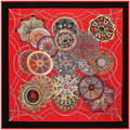 Fashion Twill Silk Women Scarf 130*130 cm Euro Vault of Heaven Circle Printed Square Scarves High Quality Gift Large Silk Shawl