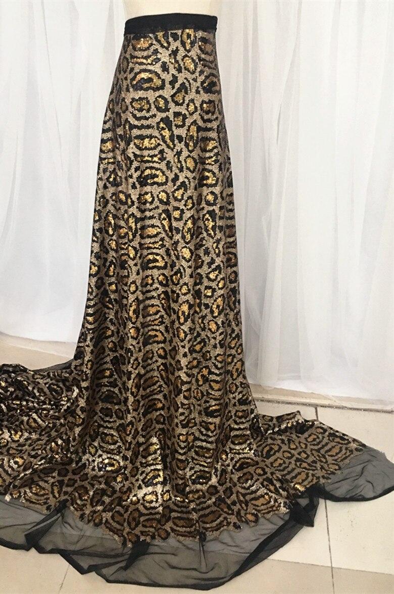 100*125cm Leopard Print Sequins Fabric for Dresses Fahion Clothing