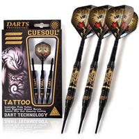 CUESOUL TATTOO Series 20g Black Coated Brass Soft Tip Darts With Unique Pattern