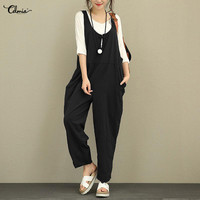 Celmia Plus Size Jumpsuits Linen Overalls 2018 Summer Autumn Women Backless Sleeveless Loose Trousers Ladies Long