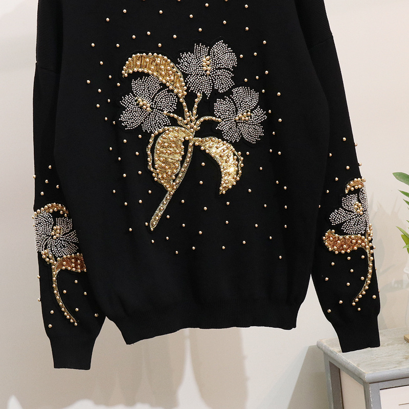 Pièces Pièce Femmes Perles Automne Survêtements 2 Mode Occasionnel Pantalon Chandail Deux Pull Black Lâche Fleurs Ensemble EUFW6wq