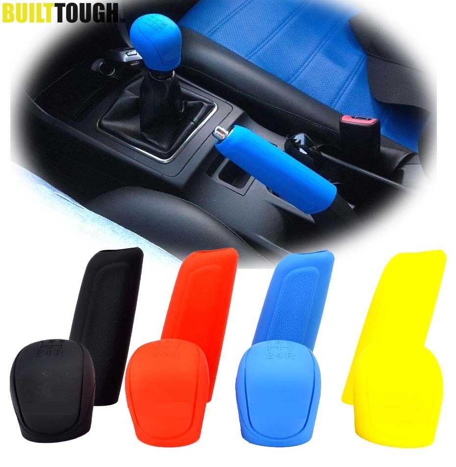 2Pc Car Auto Manual Siliconen Shift Gear Hoofd Knop Cover Handrem Handrem Covers Mouwen Case Skin Protector Auto styling