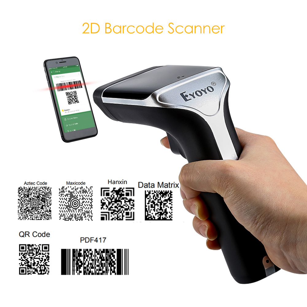 EYOYO EY-007A Handheld 1D/2D Bar Code Scanner Wireless 2.4G 2D QR Code Reader Vibration PDF417 2D Scanner Wireless eyoyo ey 002s wireless 2d scanner 1d 2d pdf417 qr code pocket wireless barcode scanner for android ios mac windows