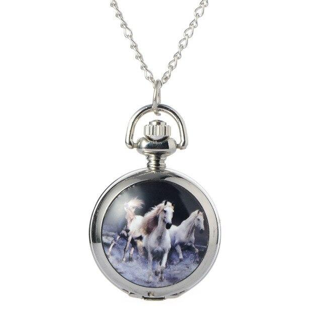 Relogio Retro White horse Quartz Pocket Watch Clock Hour Fob With Chain Pendant