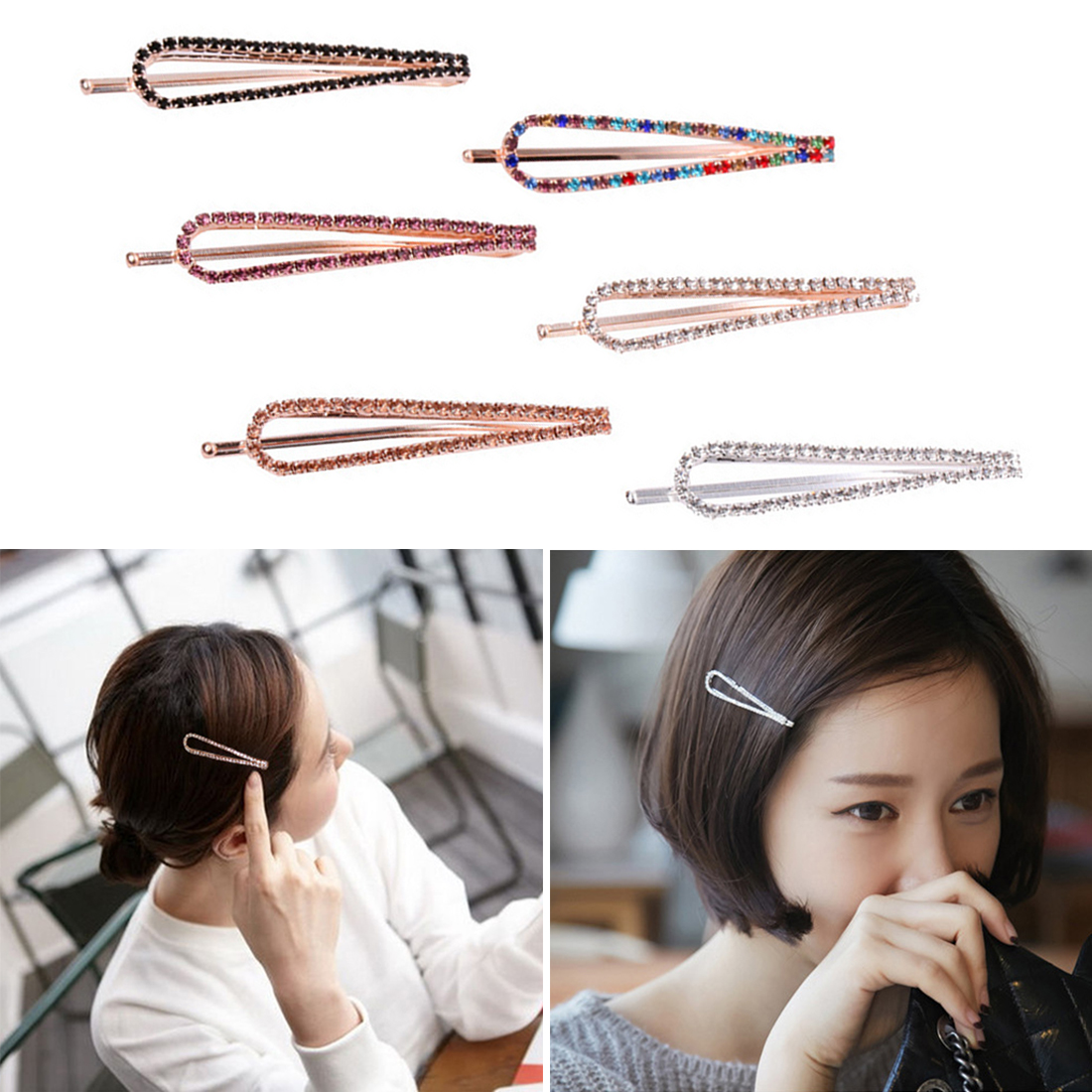 Novelty High-end hair accessories   headwear   U-shaped clipcrystal rhinestone hairpin word clip holiday gift female wild jewelry