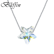 цены BAFFIN Simple Star Bead Necklaces Pendants Crystals From Swarovski Silver Color Chain Necklaces For Women Office Jewelry 2019