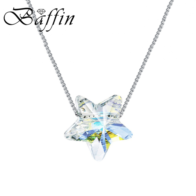 BAFFIN Simple Star Bead Necklaces Pendants Crystals From Swarovski Silver Color Chain Necklaces For Women Office Jewelry 2018