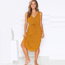 цена на Summer Beach Women Casual Sleeveless Dress V-neck Dot Print Dress Bandage Hem Split Loose Dresses