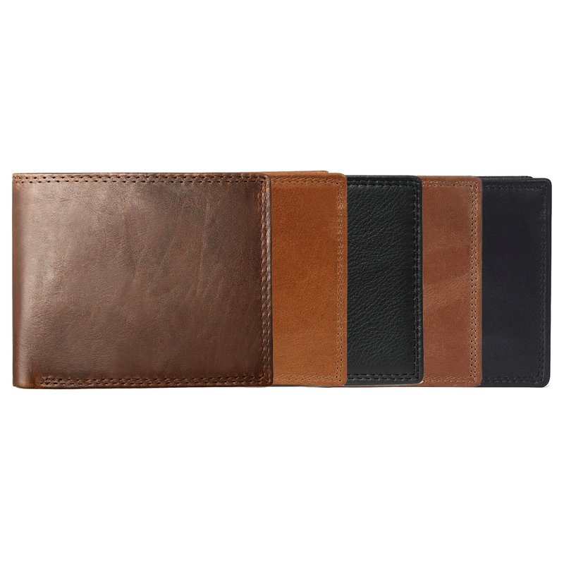 GENODERN Cow Leather Men Wallets with Coin Pocket Vintage Male Purse Function Brown Genuine Leather Men Wallet with Card Holders 6
