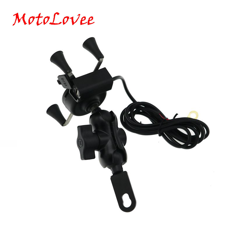 MotoLovee 360 Rotating Motorcycle Handlebar Mount Mobile Phone Holder USB Charging Bracket Motorbike Handle Support Accessories