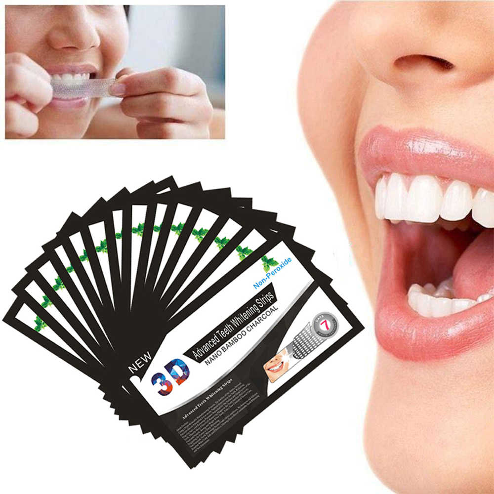 1Pc 3D Bamboo Charcoal Whiten Patch Teeth Oral Clean Mint Flavor Teeth Whitening Strips Dental Sticker For Adults Portable TSLM2