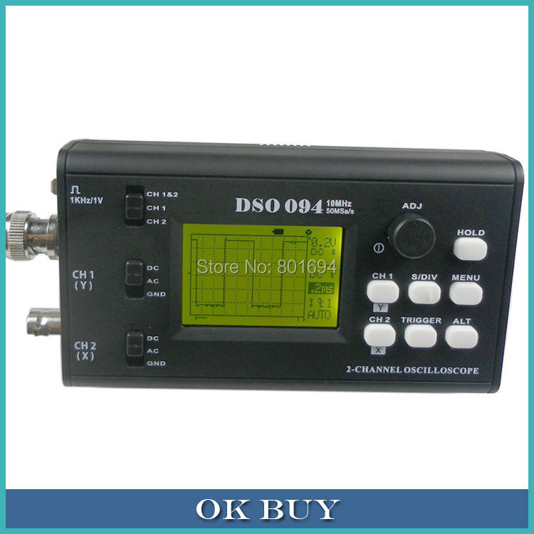 DSO 094 Dual Channel Mini Portable Digital Oscilloscope 10MHz 50MSa/s Y/T Mode And  Y/X Mode Selectable+ BNC Probe USB Cable dso 150 2 0 lcd usb dual channel oscilloscope