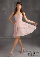 Latest Design Elegant Bridesmaid Dress 2015 Sweetheart Blush Pink Party Dress A Line Knee Length Chiffon