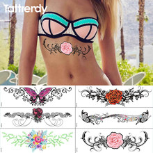 Temporary Tattoos Waterproof body art painting beach party fake tattoo stickers on sternum bust sexy tattoos for girls women big(China)
