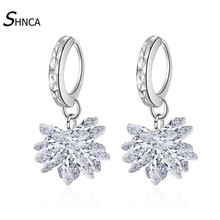 Sweet Exquisite Ice Flower 925 Sterling Silver Zircon Crystal Charm Dangle Earrings For Women Wedding Silver 925 Jewelry E449